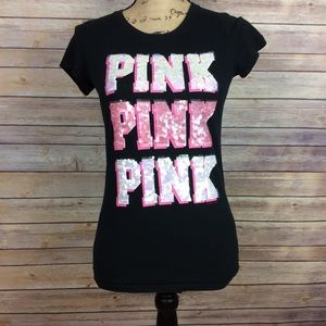 ❗SOLD❗Pink V.S Small T-Shirt White pink sequins
